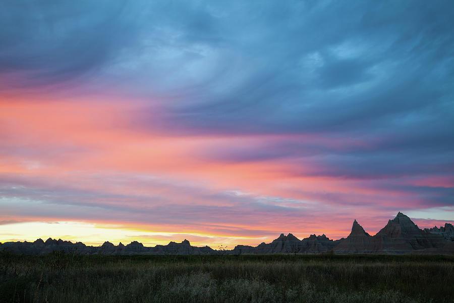 Sunset Colors And Clouds, Badlands Photograph by Karen Desjardin