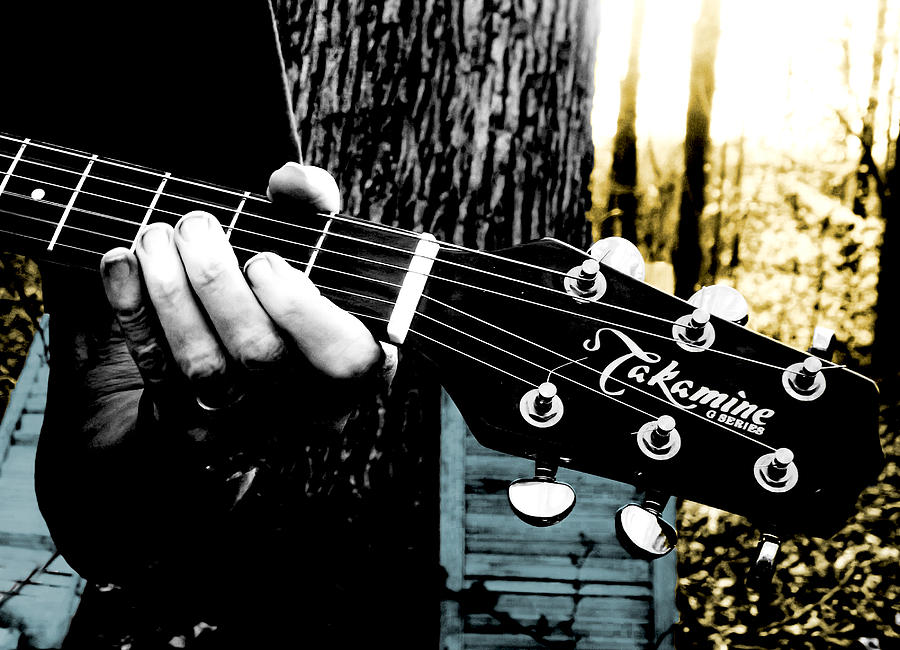 Guitar Photograph - Sunset Country Pickin by Kristie  Bonnewell