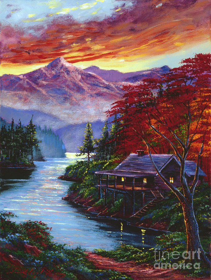 Lake Painting - Sunset Cove by David Lloyd Glover