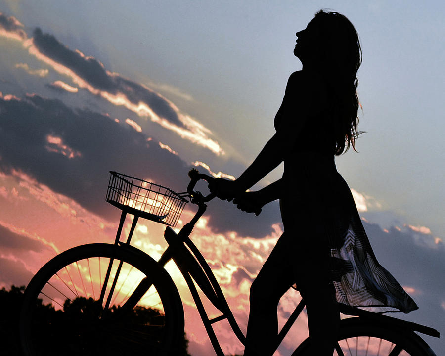 Silhouette Photograph - Sunset Cyclist by Kurt Bonnell