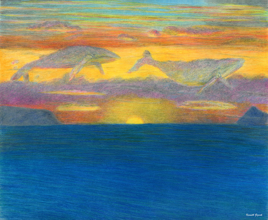 Tropical Warmth Drawing - Sunset Drifters by Kenneth Grzesik