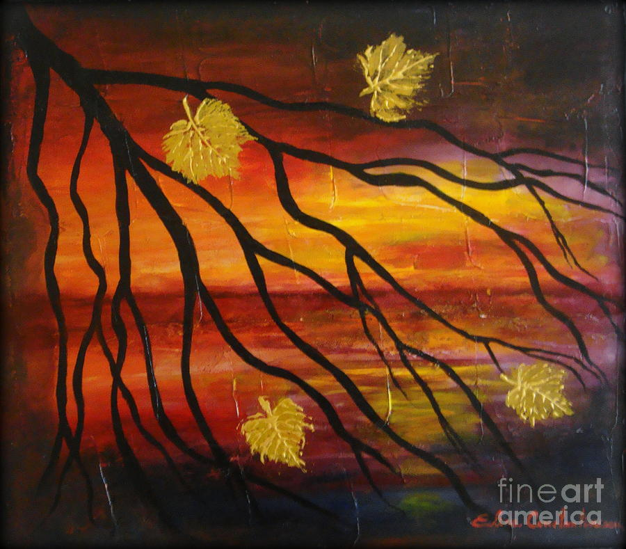 Autumn Painting - Sunset by Elena  Constantinescu