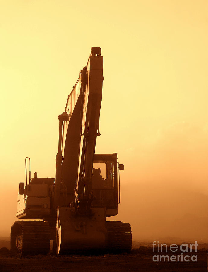 Excavator Photograph - Sunset Excavator by Olivier Le Queinec