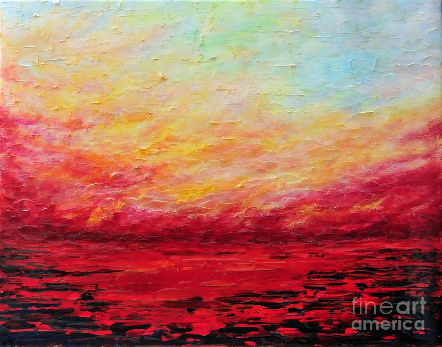 Abstract Painting - Sunset Fiery by Teresa Wegrzyn