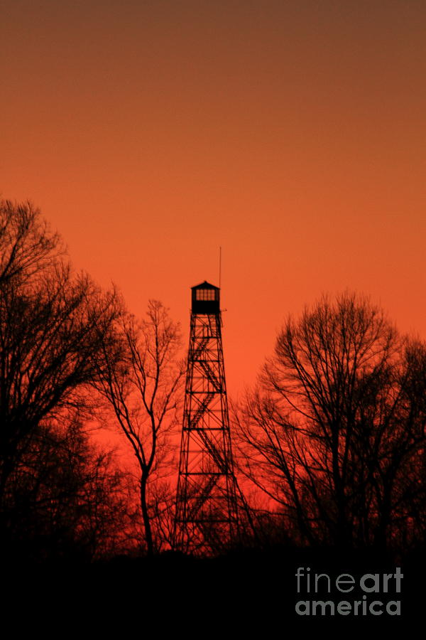 Fire Photograph - Sunset Fire Tower In Oconee County by Reid Callaway