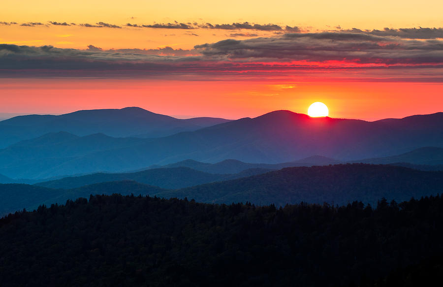 Sunset from Clingman's Dome - Great Smoky Mountains ...