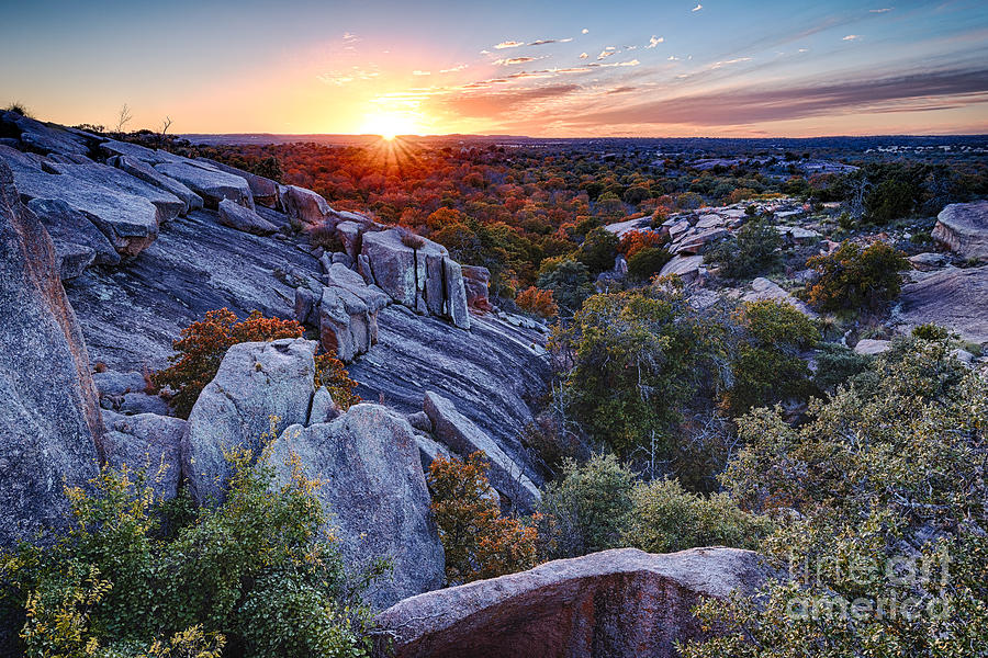 Sunset From The Top Of Little Rock At Enchanted Rock State