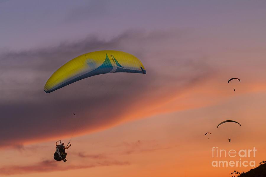 Paragliding Photograph - Sunset Gliders by Soren Egeberg