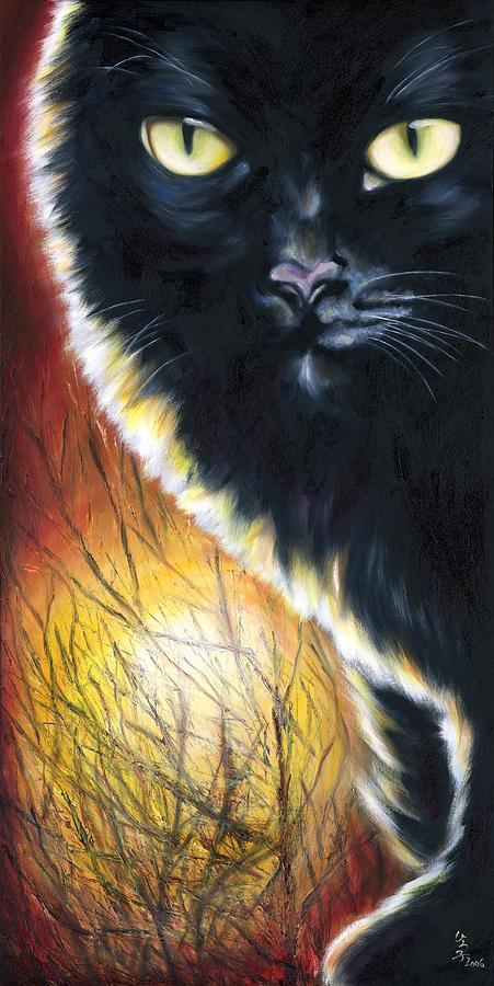 Cat Painting - Sunset by Hiroko Sakai