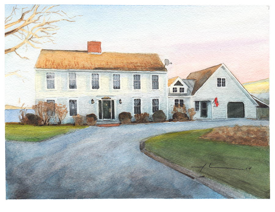 Sunset House Watercolor Portrait Drawing by Mike Theuer