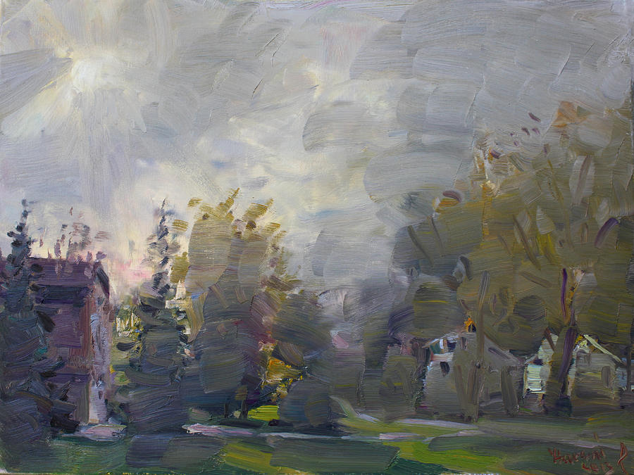 Fall Painting - Sunset In A Foggy Fall Day by Ylli Haruni