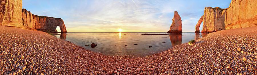 Panorama Photograph - Sunset In A?tretat by Valeriy Shcherbina