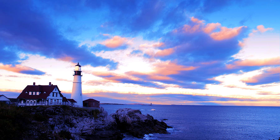 Sunset Photograph - Sunset In Fork Williams Lighthouse Park Portland Maine State by Paul Ge
