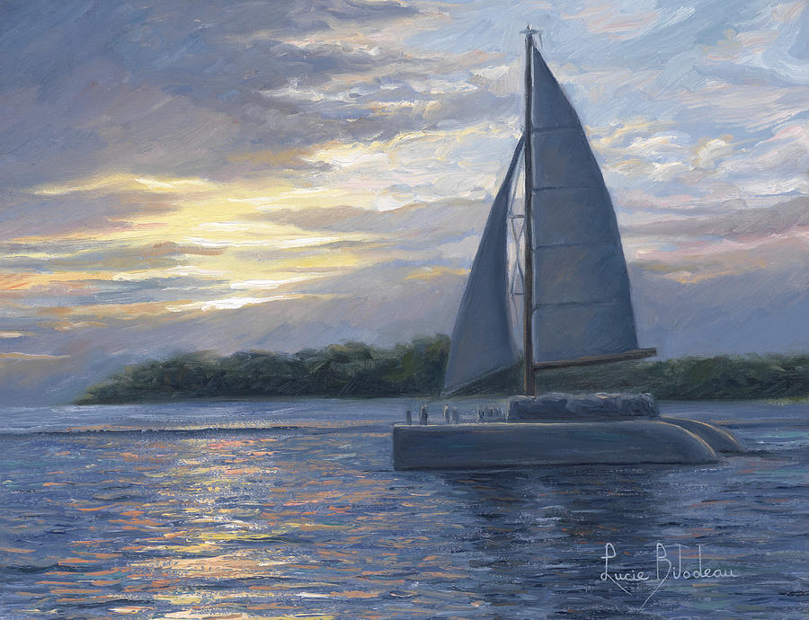 Sailboat Painting - Sunset In Key West by Lucie Bilodeau