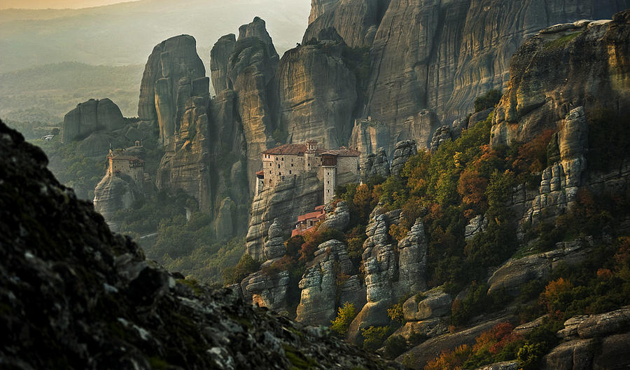 Landscape Photograph - Sunset In Meteora by Romylos Parissis