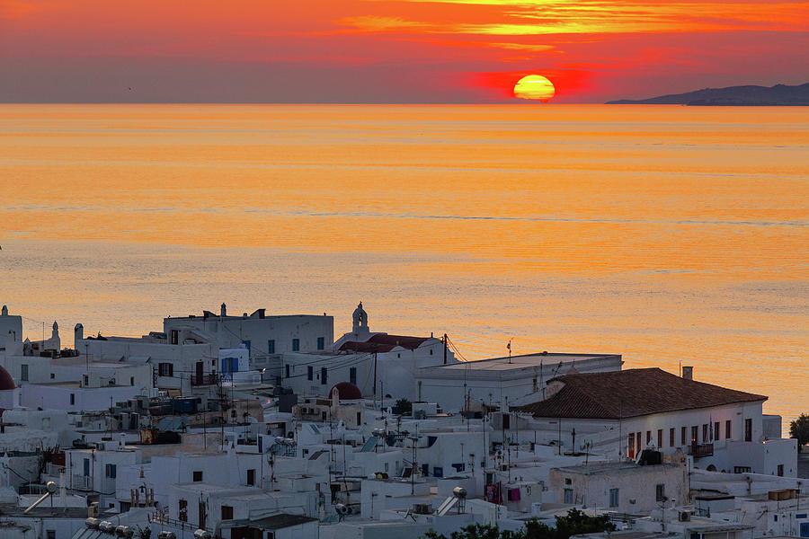 Sunset In Mykonos Photograph by Deimagine