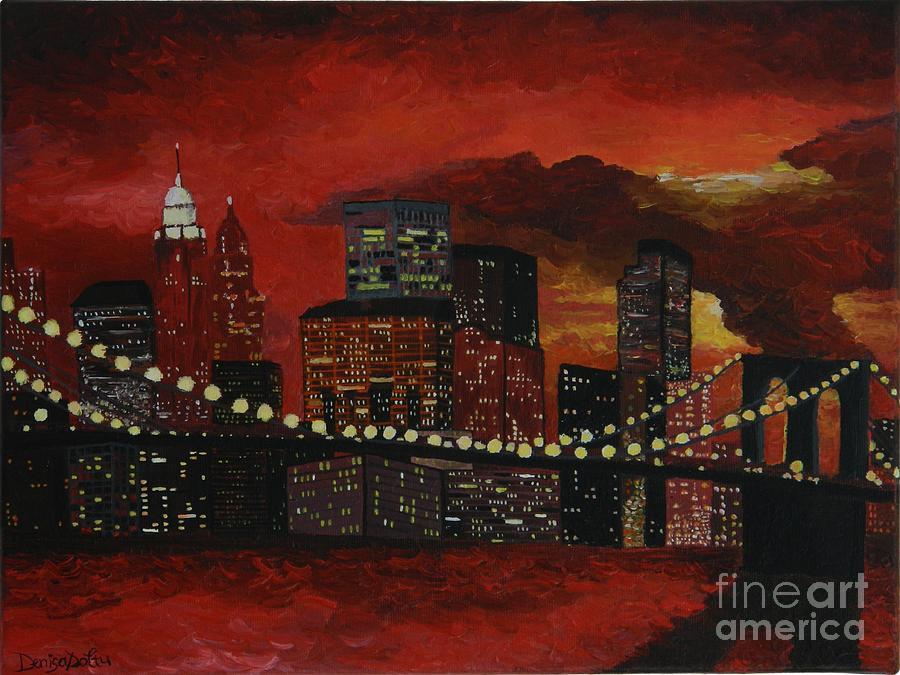 Modern Painting - Sunset In New York by Denisa Laura Doltu