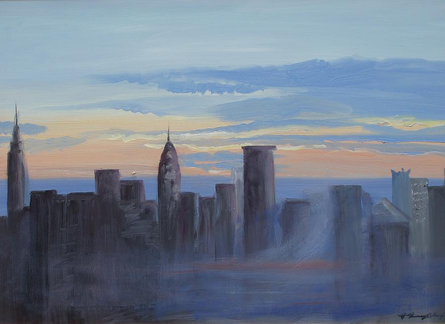 New York Painting - Sunset In New York by Patricia Kimsey Bollinger
