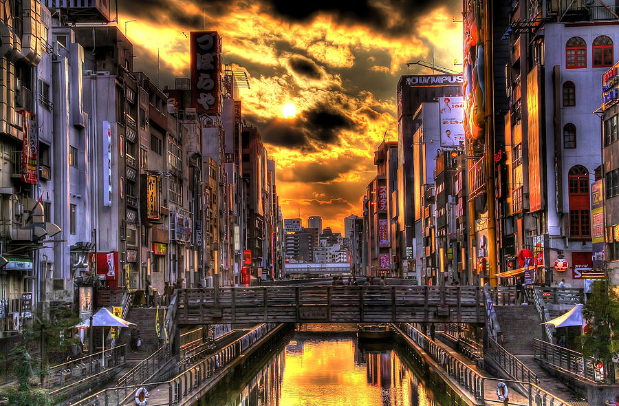 Hdr Photograph - Sunset In Osaka by SEOS Photography