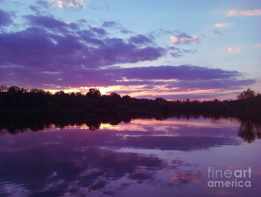 Lake Photograph - Sunset In Purple by R McLellan