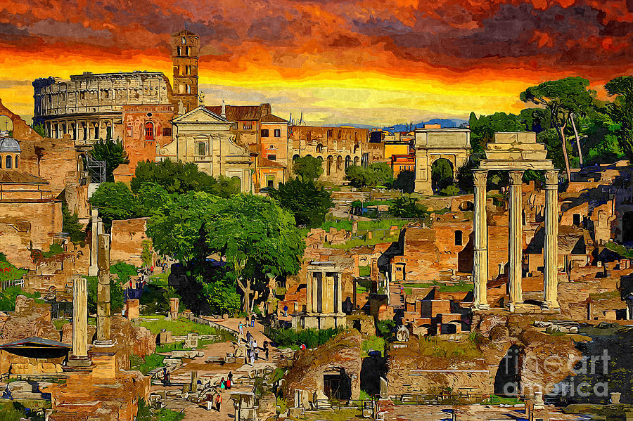 Sunset Painting - Sunset In Rome by Stefano Senise
