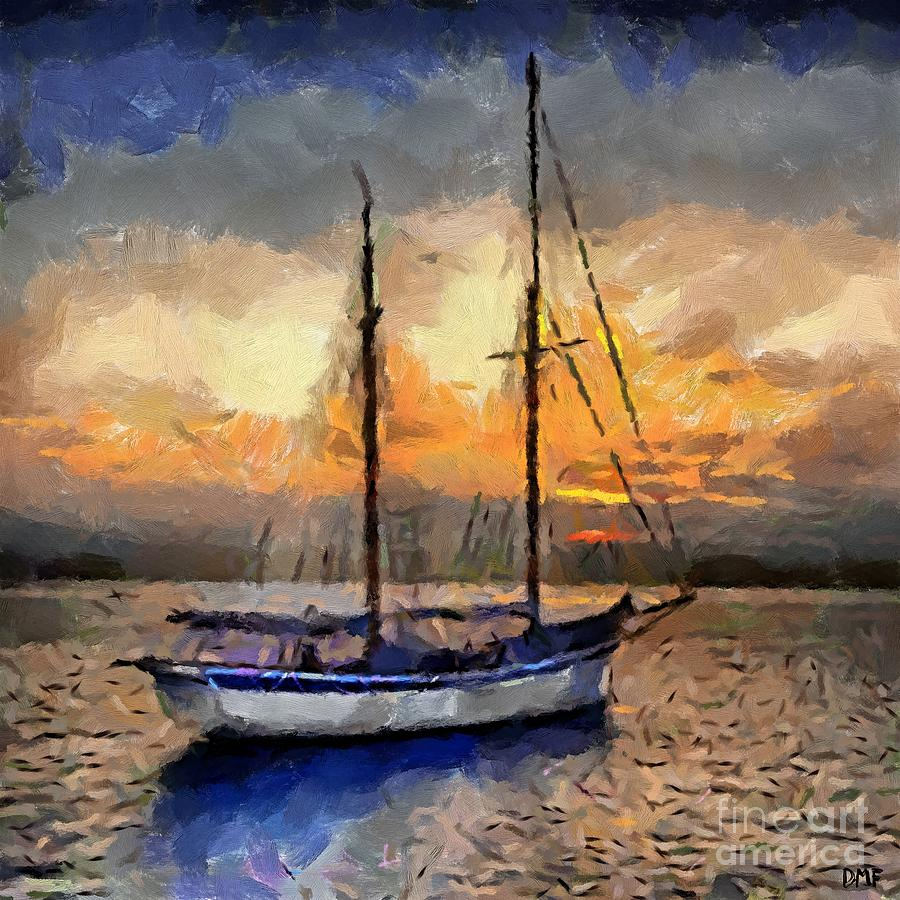 Landscapes Painting - Sunset In The Bay by Dragica  Micki Fortuna