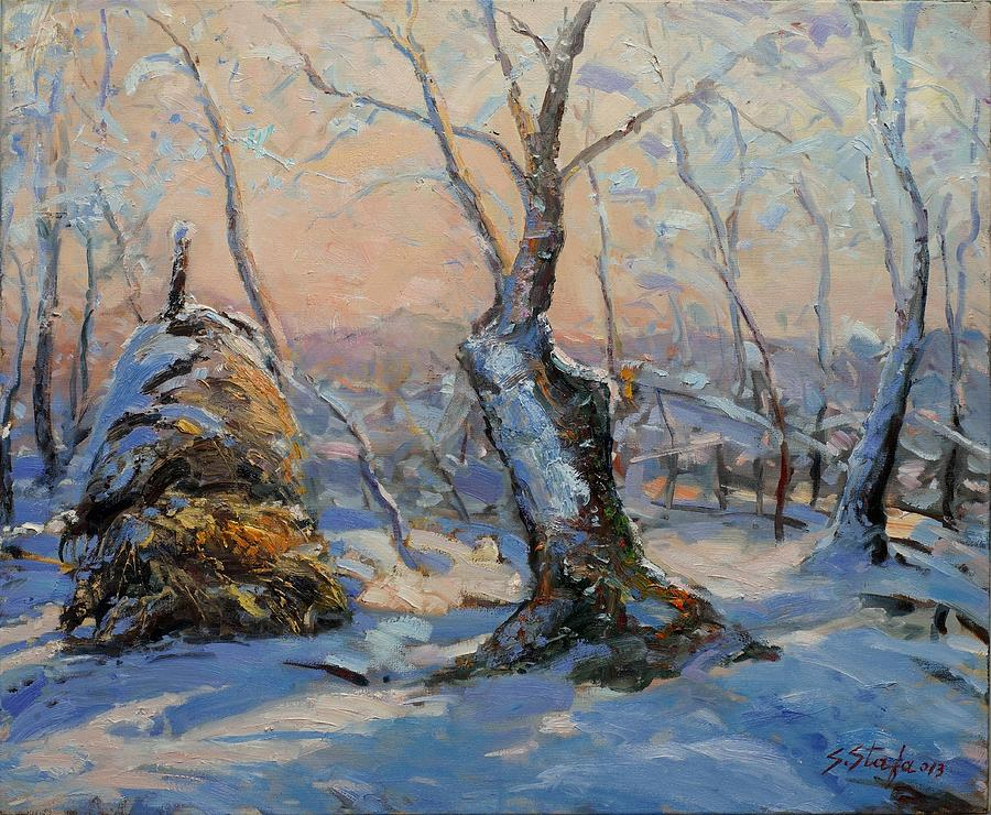 Landscape Painting - Sunset In The Winter by Sefedin Stafa