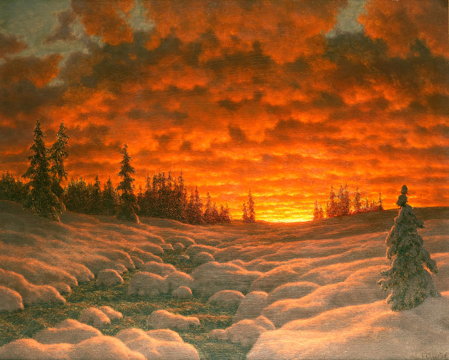Sunset In Winter Painting by Ivan Fedorovich Choultse