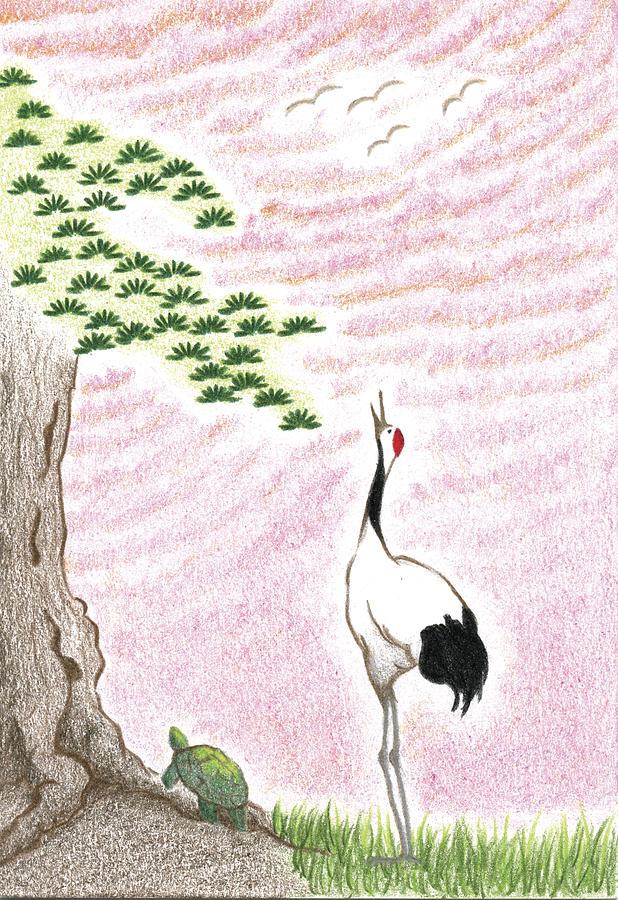 Crane At Sunset Drawing - Sunset by Keiko Katsuta