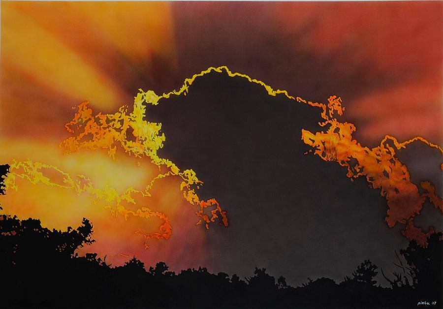 Landscape Painting - Sunset by Konstantinos-Pimba Botas