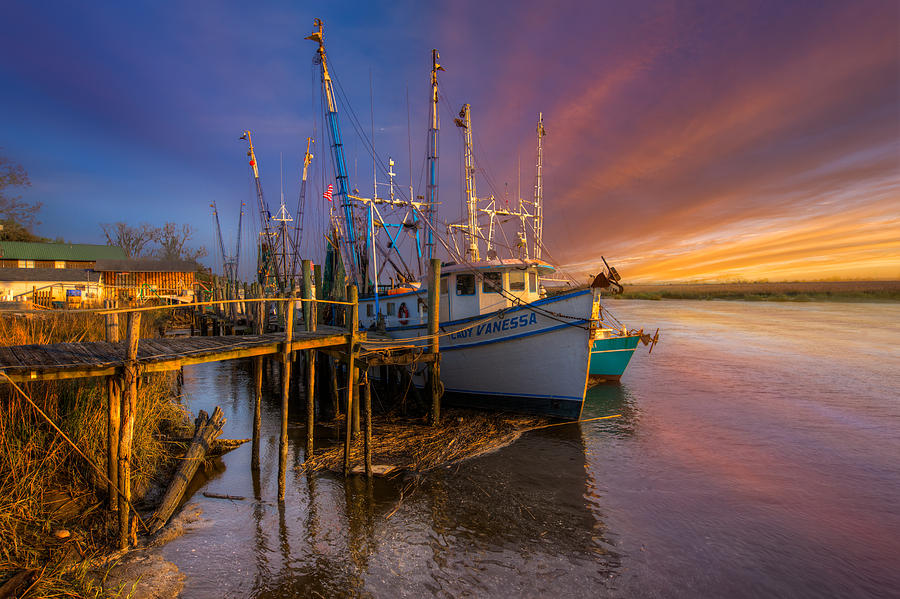 Boats Photograph - Sunset Lady by Debra and Dave Vanderlaan