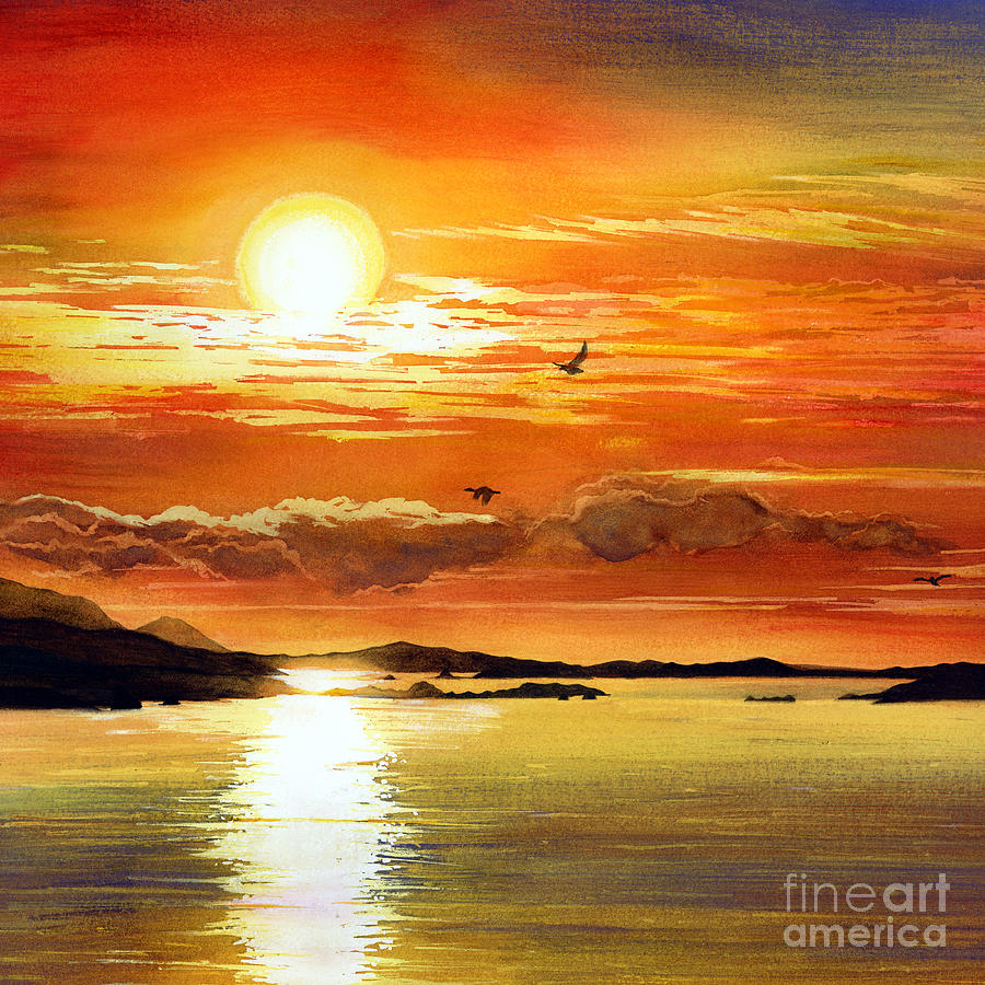 Sunset Lake Painting By Hailey E Herrera