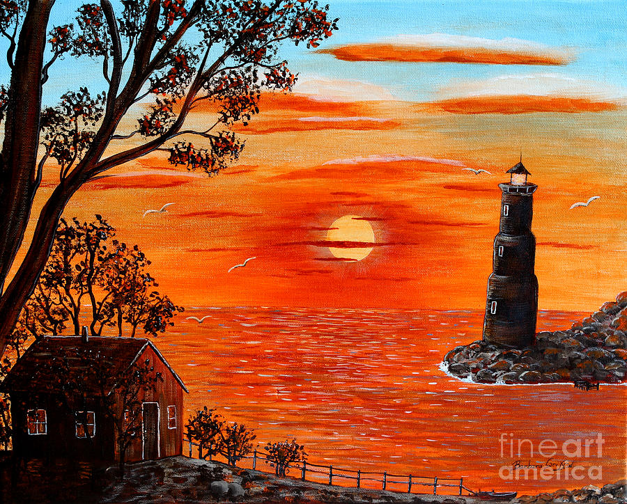 Sunset Lighthouse Painting By Barbara Griffin