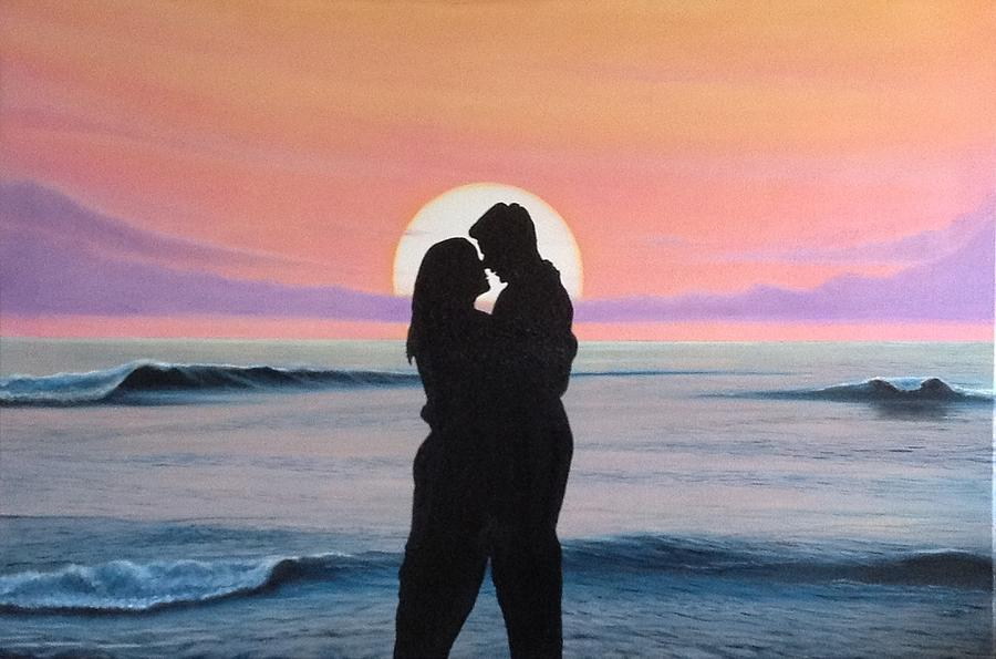 Sunset Love Painting By Angel Ortiz