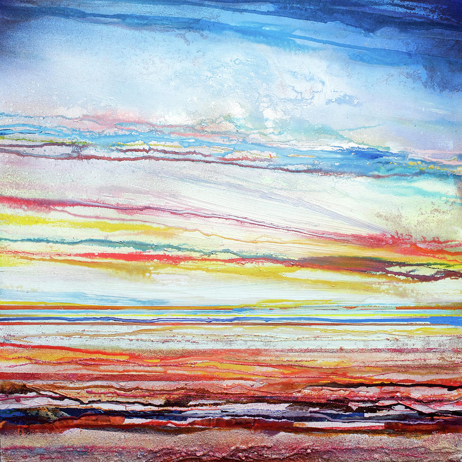 Sunset Mixed Media - Sunset Low Tide Rhythms And Textures 5 by Mike   Bell