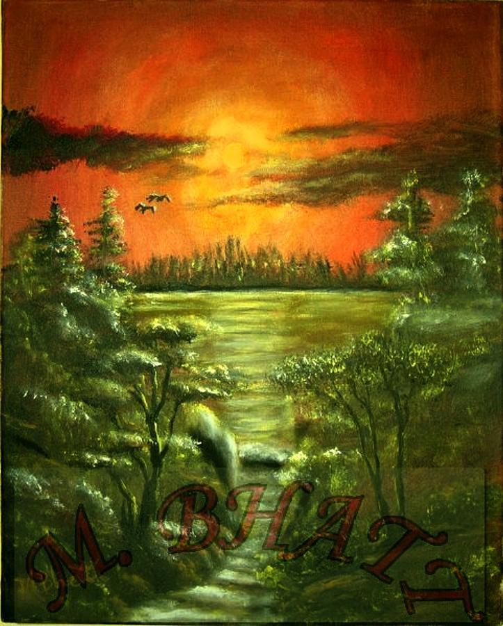 Nature Painting - Sunset by M bhatt