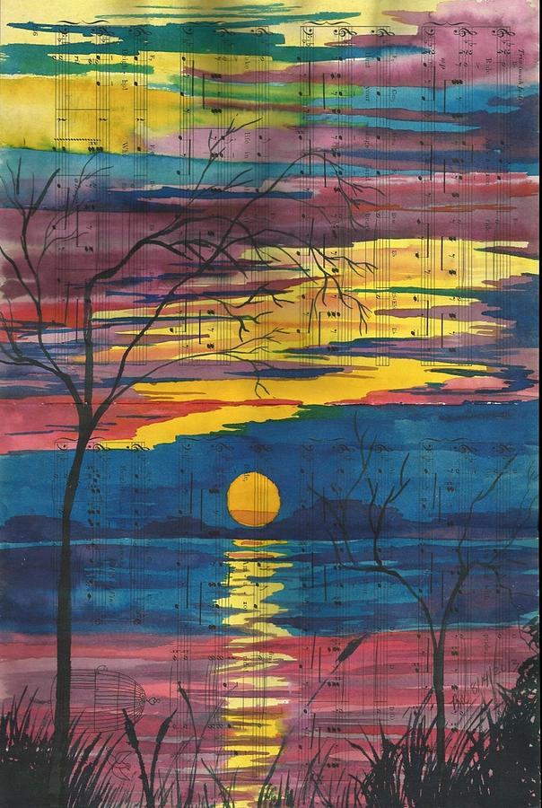 Music Painting - Sunset Melody by Beverly Marshall