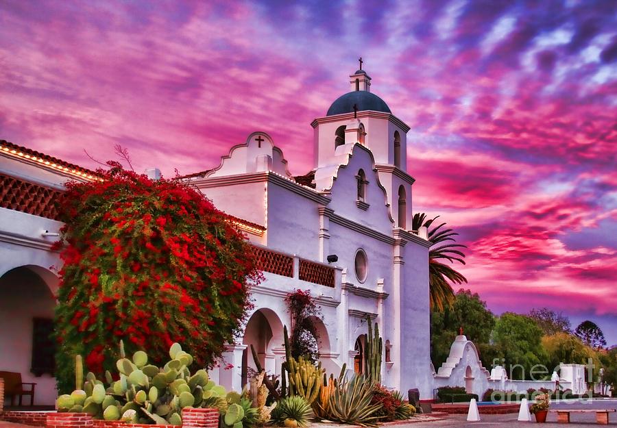 Sunset Mission San Luis Rey de Francia By Diana Sainz by Diana Raquel Sainz