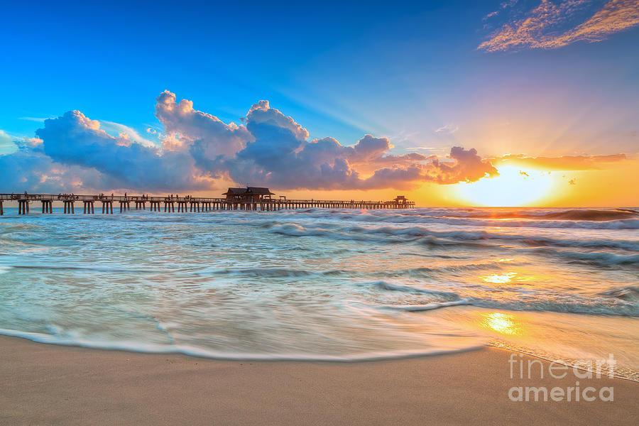Naples Photograph - Sunset Naples Pier by Hans- Juergen Leschmann