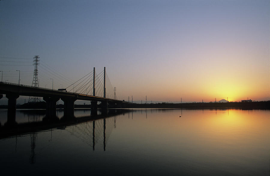 Sunset Of Lake And Cable-stayed Bridge Photograph by Huzu1959