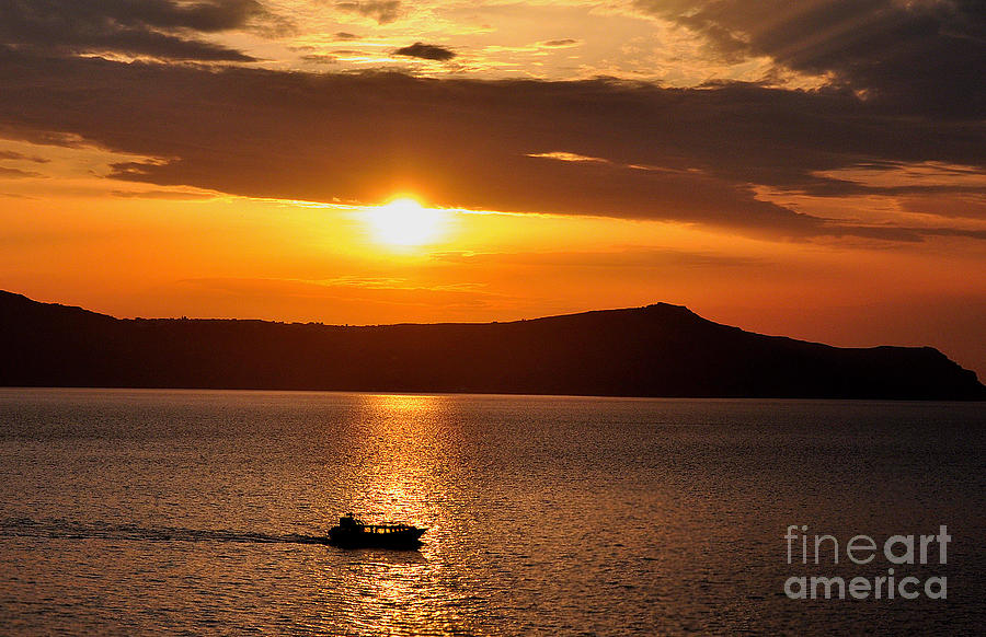 Island Photograph - Sunset Off The Island Of Santorini by MaryJane Armstrong