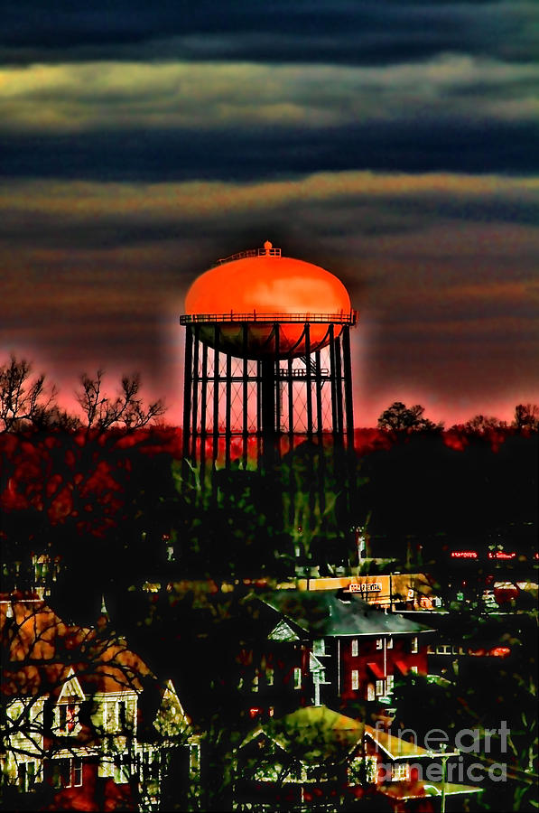 Water Tower Photograph - Sunset On A Charlotte Water Tower By Diana Sainz by Diana Sainz