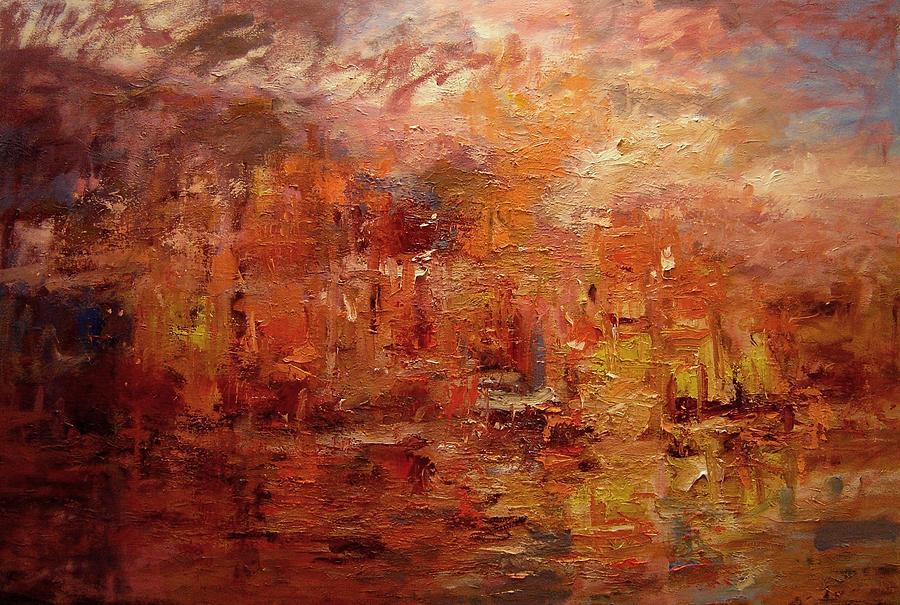 Sunset Painting - Sunset On Atlantis by R W Goetting