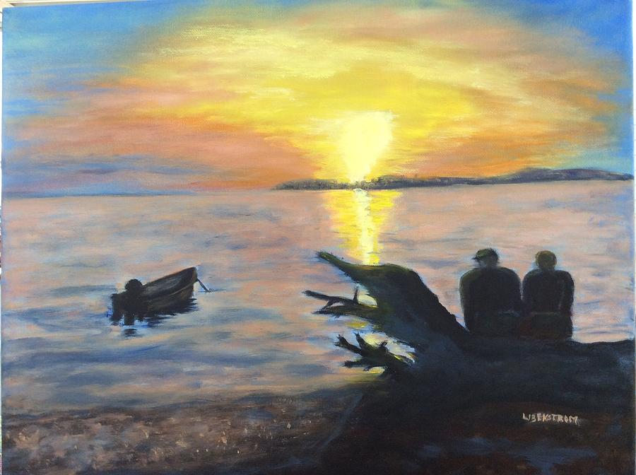 Free Style Painting - Sunset On Birch Bay by Liz  Ekstrom