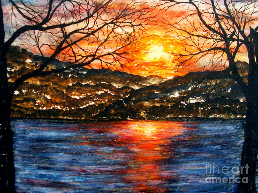 Sunset On Greers Ferry Lake Arkansas Painting by Vivian Cook