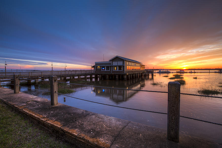 Boats Photograph - Sunset On Jekyll Island by Debra and Dave Vanderlaan