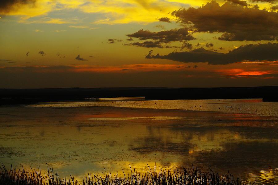 Lakes Photograph - Sunset On Medicine Lake by Jeff Swan