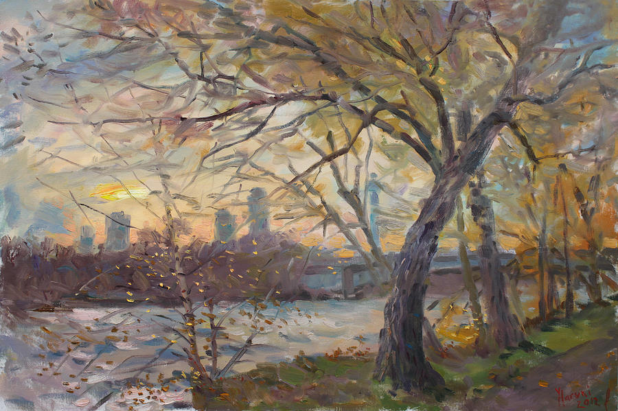 Niagara Falls Painting - Sunset On Niagara River  by Ylli Haruni