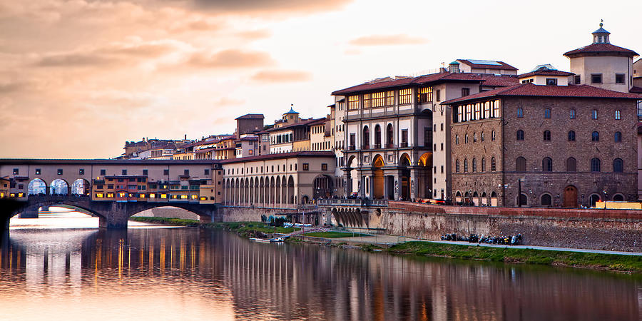 Italy Photograph - Sunset On Ponte Vecchio In Florence by Susan Schmitz