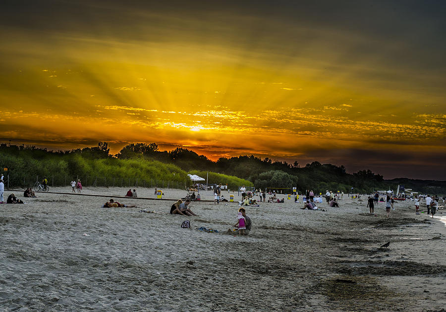 Beach Photograph - Sunset On The Crowded Beach by Adam Budziarek